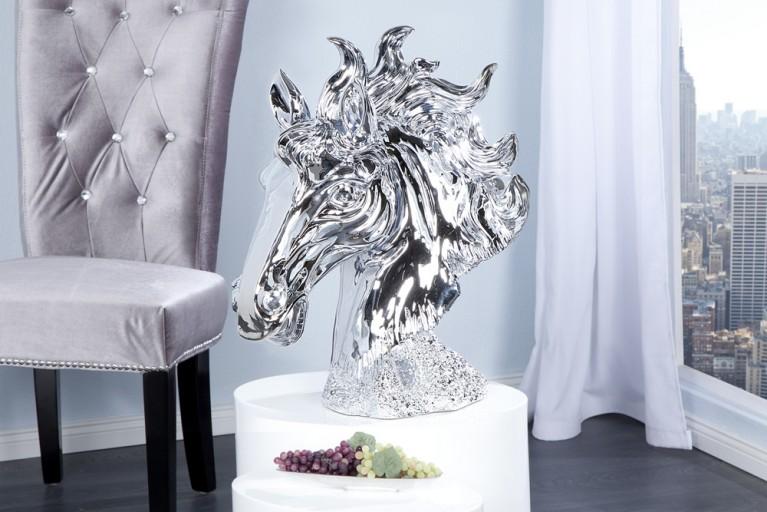 Imposante Pferdekopf Skulptur silber 60cm
