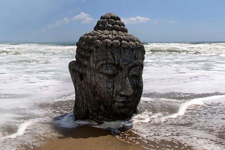 Riesen XXL BUDDHA KOPF schwarz aus Bali 110cm