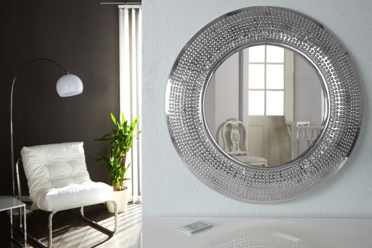 Runder Design Wand Spiegel Insight mit Alurahmen 80cm