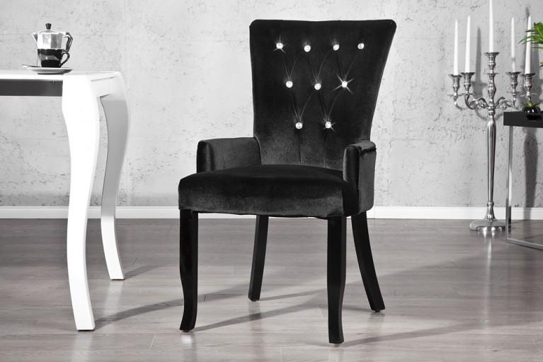 Design Stuhl BOUTIQUE mit Armlehne Samtstoff schwarz mit Strasssteinen
