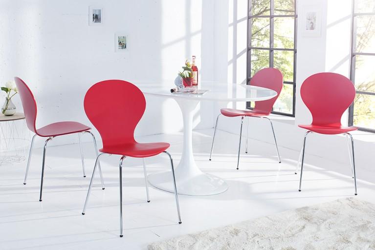 4er Set Stuhl FORM Designklassiker aus hochwertigem Formholz rot stapelbar