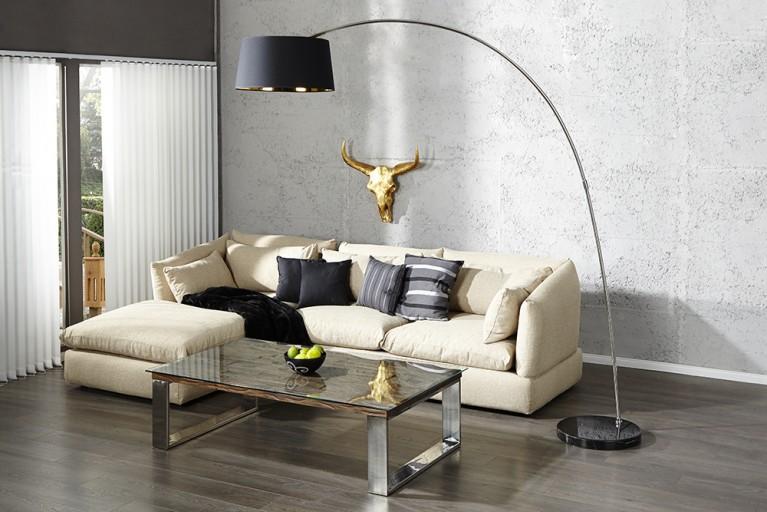 Design Stehleuchte FORMA schwarz gold Bogenlampe Bogenleuchte