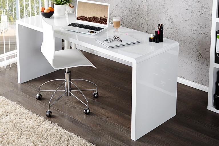 Design Schreibtisch FAST TRADE Hochglanz weiss 140cm