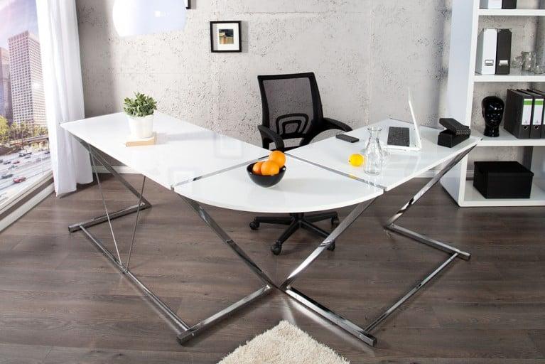 Großer Design Eck-Schreibtisch BIG DEAL hochglanz weiss Bürotisch