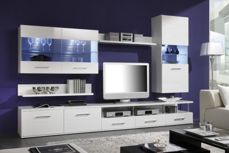Design Wohnwand ICE & STONE 300cm weiß Hochglanz mit Schieferoptik inkl. Unterbau Spots