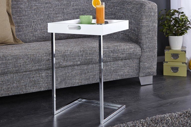 Design Beistelltisch CIANO Tablett-Tisch weiss chrom Tabletttisch