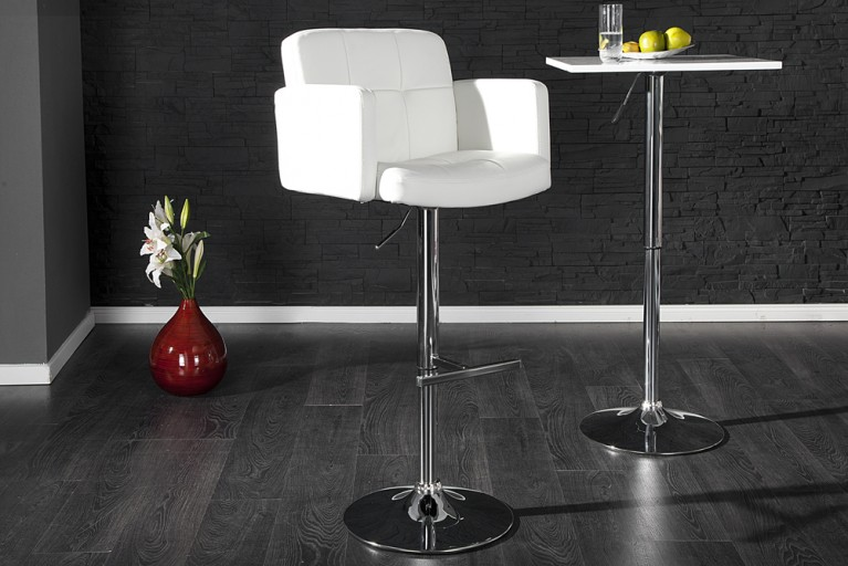 Design Barhocker MARANELLO weiss chrom Barstuhl