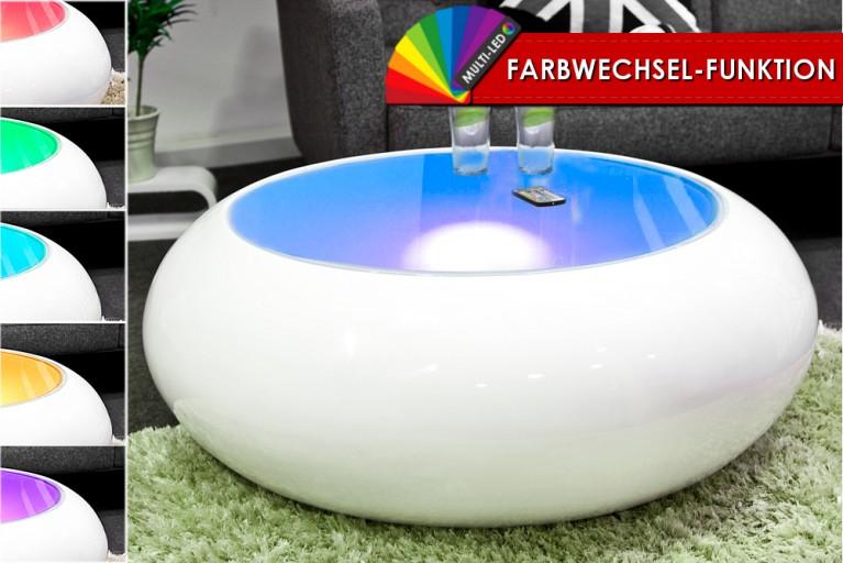Extravaganter Couchtisch LUMINO weiss LED Farbwechsel Beleuchtung