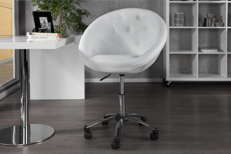Design Bürosessel COUTURE weiß mit Rollen höhenverstellbar im Loungedesign