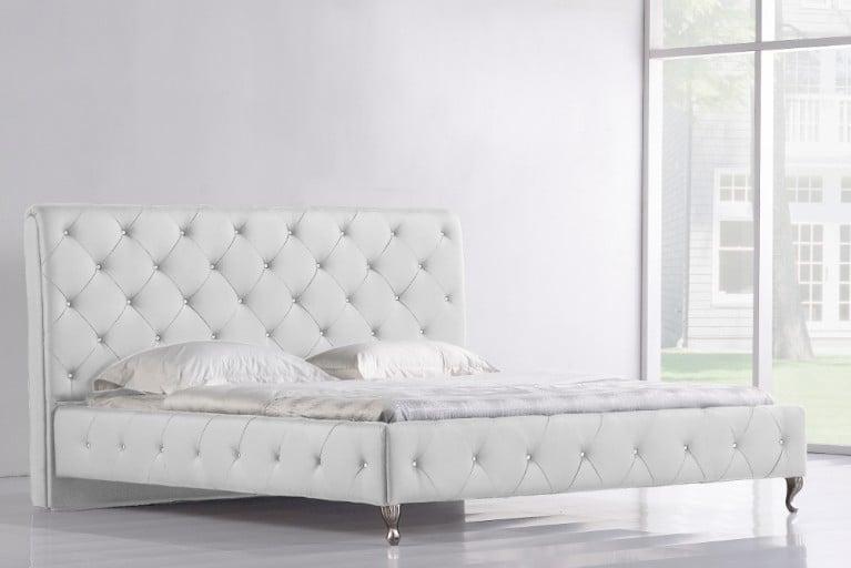Extravagantes Bett GOYA 180x200 weiss Glaskristalle