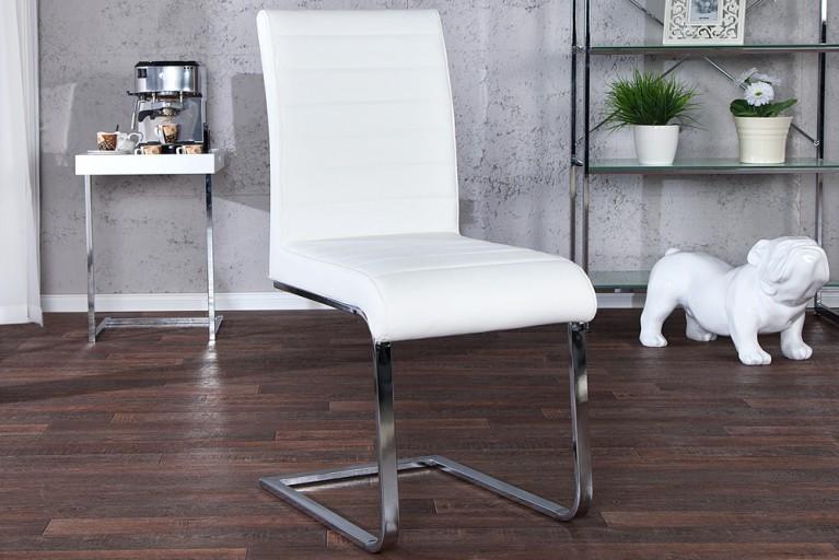 Design Freischwinger Stuhl STUART weiß Flachstahl