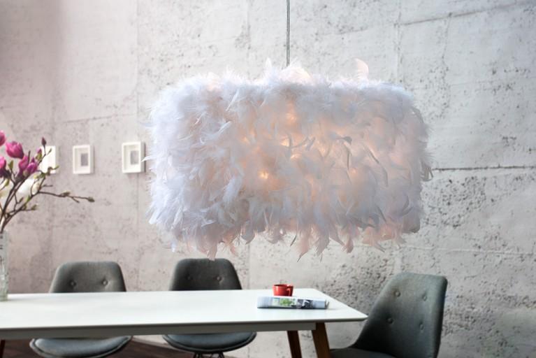 Innovative Design Hängeleuchte PARADISE weiss mit Federn