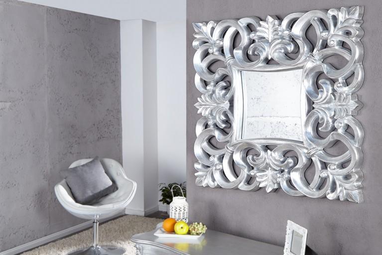 Opulenter Barock Spiegel VENICE silber antik Wandspiegel 75cm