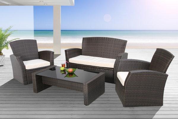 Exklusive Design Garten Sitzgruppe NIZZA inkl. Sitzkissen Gartengarnitur und hochwertigem Aluminiumrahmen
