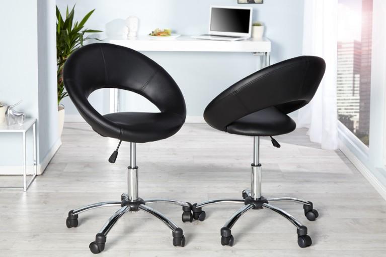 Design Bürodrehstuhl SENNA schwarz mit Rollen höhenverstellbar im Loungedesign