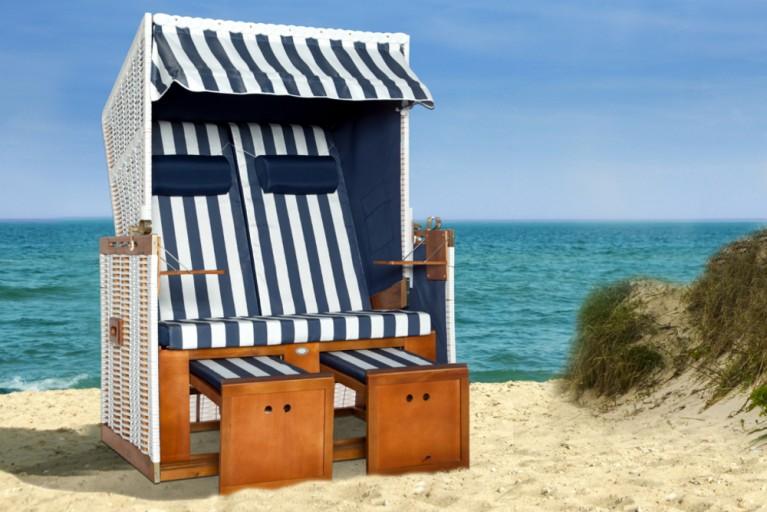 XXL Strandkorb Premium Volllieger Gartenliege NORDSEE blau weiss 2 Designs