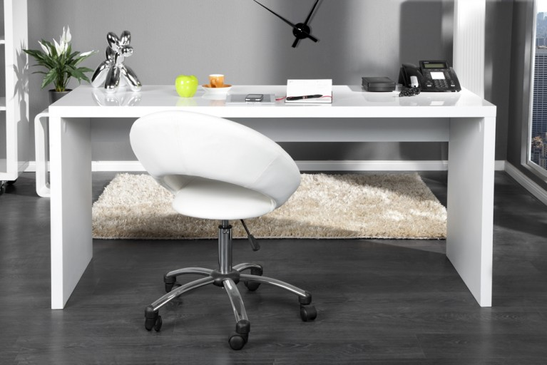 Design Schreibtisch PROMO weiss Highgloss Lack 140cm Bürotisch