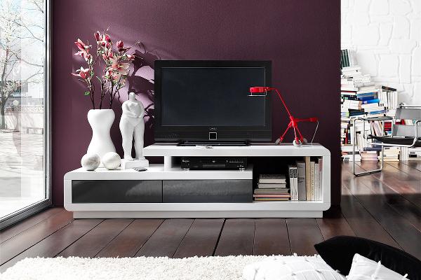 Elegantes TV Lowboard CELIA Original MCA hochglanz weiss anthrazit 170cm