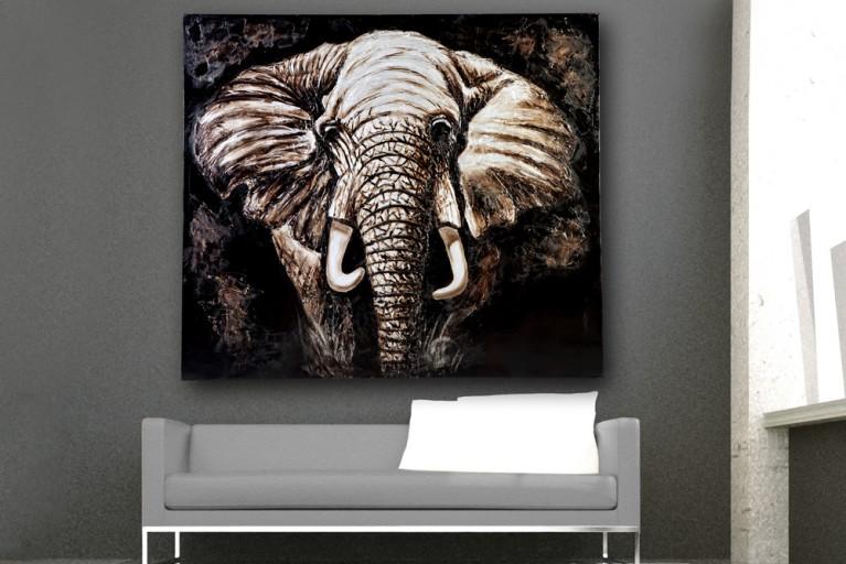 Hochwertiges handgemaltes Ölgemälde MY DISTRICT! Bild auf Keilrahmen und Canvas Leinengewebe 150x130 cm Elefant