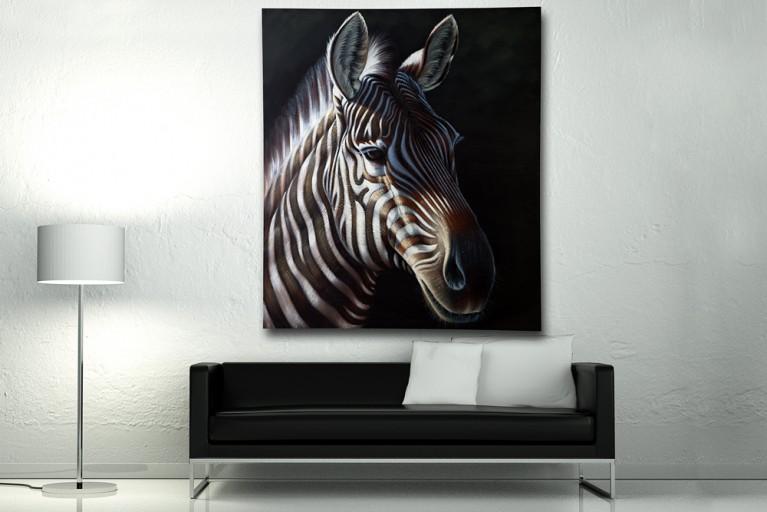 Hochwertiges handgemalte Ölgemälde DESIGN OF NATURE II Bild auf Keilrahmen und Canvas Leinengewebe 150x130 cm Zebra