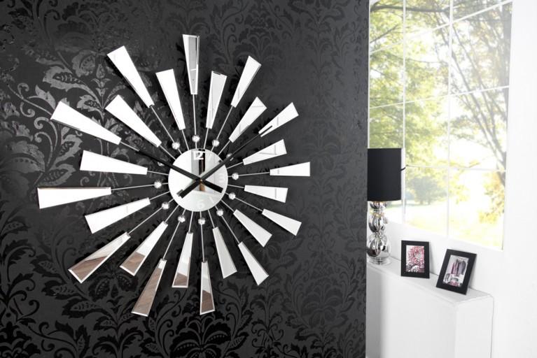 Riesige Spiegel Wanduhr REFLECTIONS mit Kristallen 90cm
