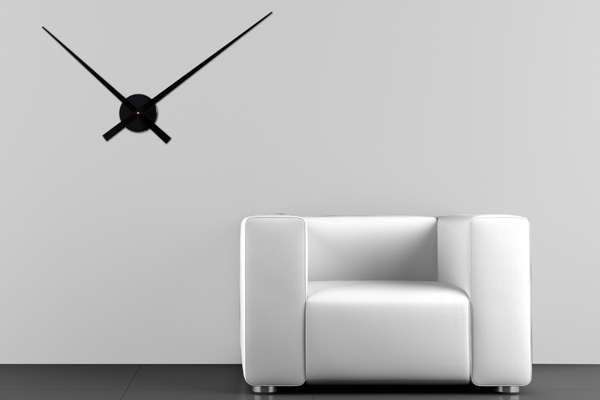 Riesige Design Wanduhr SIMPLE TIME Metall-Aluminium Legierung schwarz 80cm