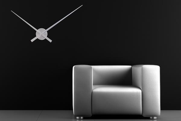 Riesige Design Wanduhr SIMPLE TIME Metall-Aluminium Legierung silber 80cm