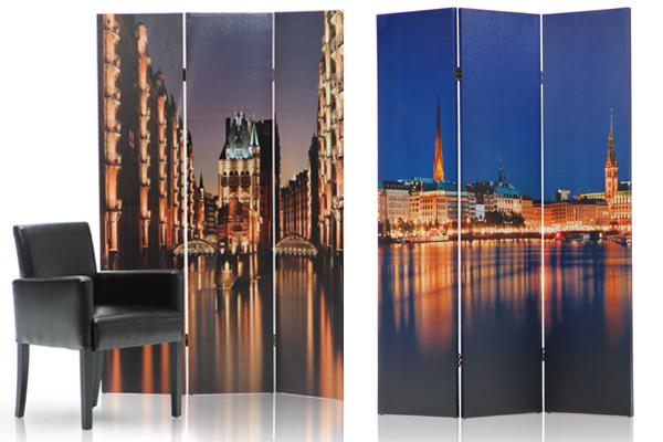 Paravent HAMBURG BINNENALSTER / SPEICHERSTADT 120x180cm