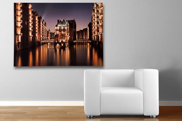 Eindrucksvoller Kunstdruck HAMBURG SPEICHERSTADT 50x70cm