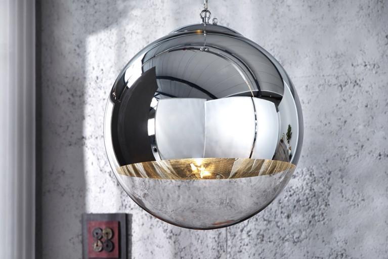 Edle Design Hängelampe GLOBE 30cm Glas chrom Kugelleuchte