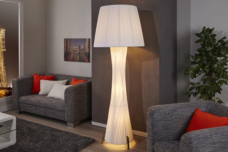 Design Stehlampe SPHYNX mit Schirm weiss 190cm
