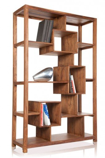 Massives Bücherregal CUBIX Makassar Sheesham 180cm