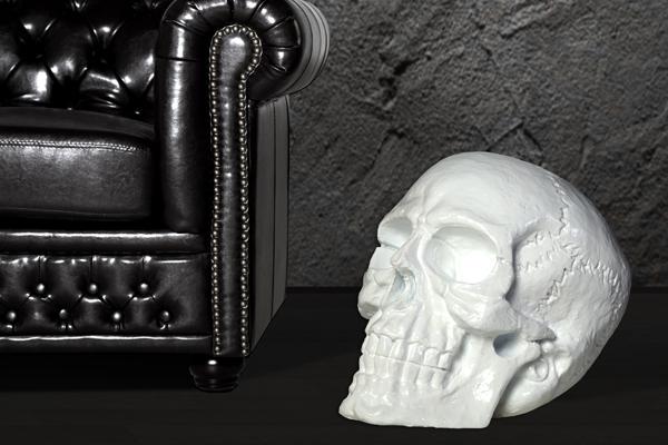 Riesiger Totenkopf SKULL hochglanz weiss 40cm Schädel