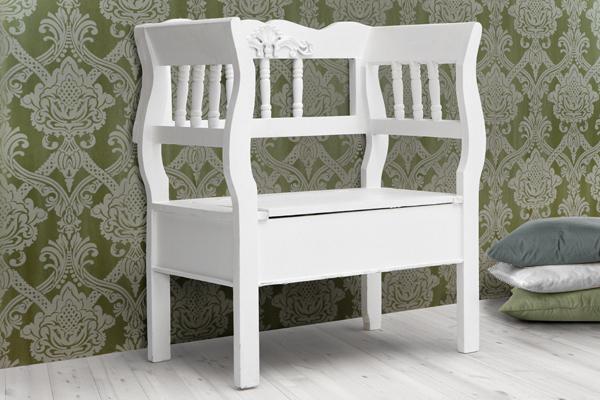 Elegante Holz Bank LA FLEUR Landhaus mit Sitztruhe weiss