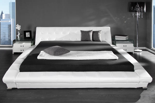 Exklusives Design Doppelbett NEW YORK 180x200 cm weiss