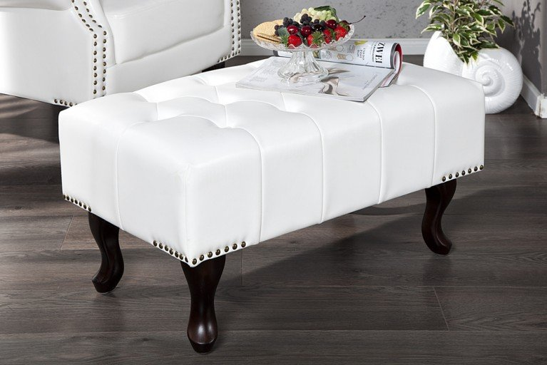 Design Chesterfield Fußhocker weiss Hocker