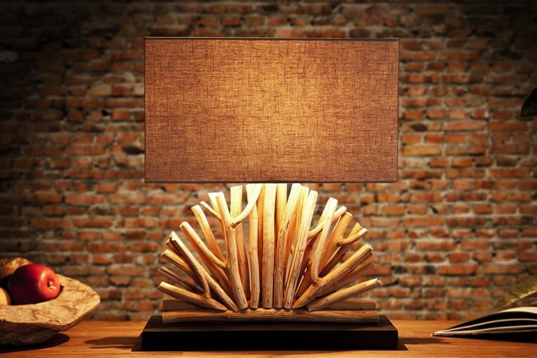 Große Design Treibholz Lampe VENTAGLIO Natur Leinen Tischlampe Handarbeit