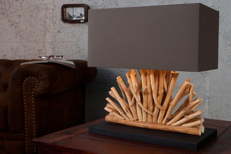 Große Design Treibholz Lampe VENTAGLIO braun Tischlampe Handarbeit mit echtem Leinenschirm