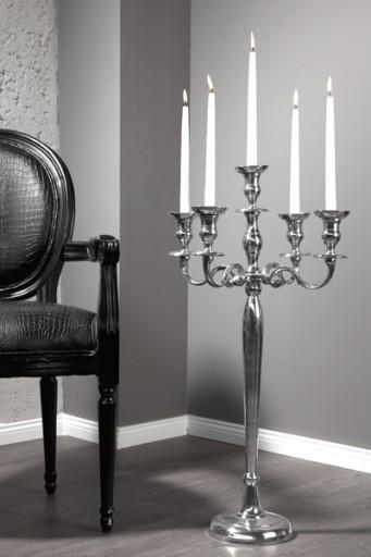 Großer Barock Kerzenständer 5-armig Lüster 80cm Metall-Aluminium Legierung poliert Kerzenhalter