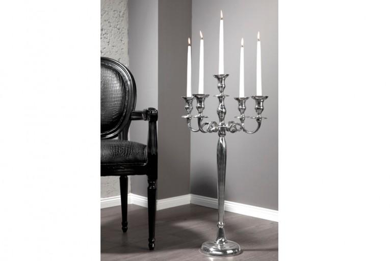 Großer Barock Kerzenständer 5-armig Lüster 80cm Metall - Aluminium - Legierung poliert Kerzenhalter