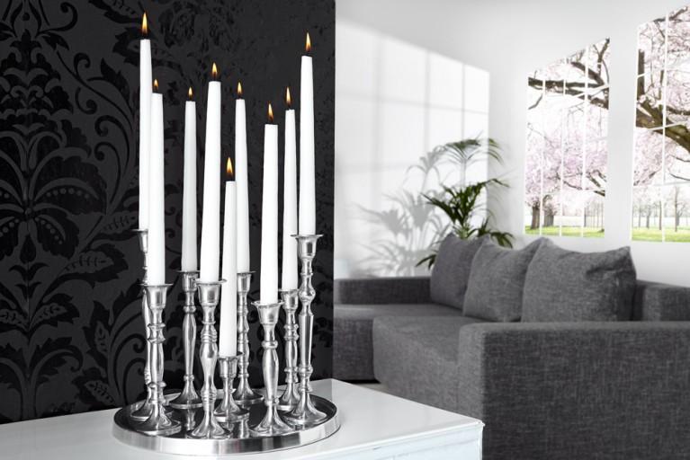 Design Deko-Platte 9-flammig Kerzenständer Lüster Aluminium poliert Kerzenhalter