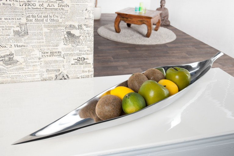Riesige Deko Schale SILVER LEAF large Metall-Aluminium Legierung poliert 80x15cm Accessoire