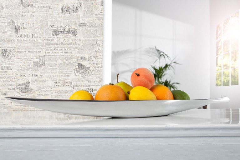 Design Deko Schale SILVER LEAF medium Aluminium poliert 60x14cm Accessoire