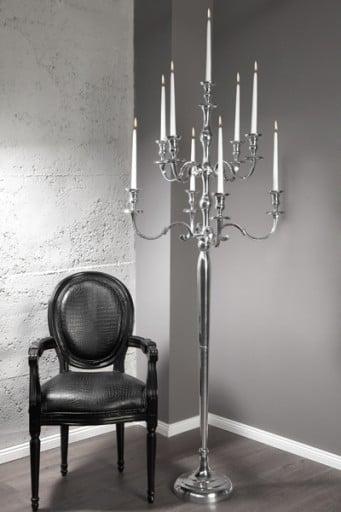 Pompöser Barock Kerzenständer 9-armig 180cm Metall-Aluminium Legierung poliert Kerzenhalter