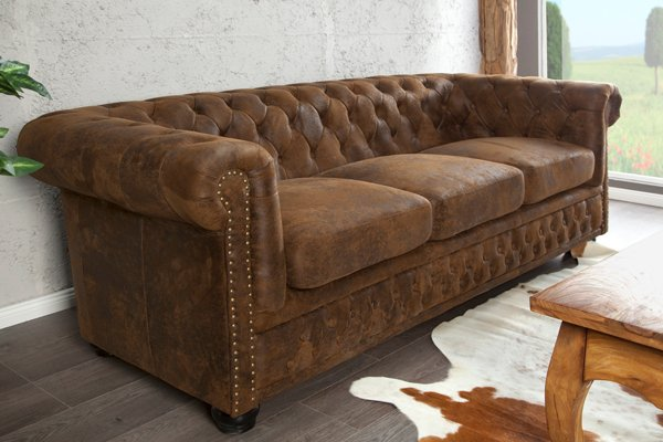 Edles Chesterfield 3er Sofa Antik Look Knopfheftung
