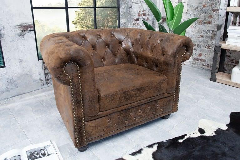 Design Chesterfield Ohrensessel Antik Braun Riess Ambiente De