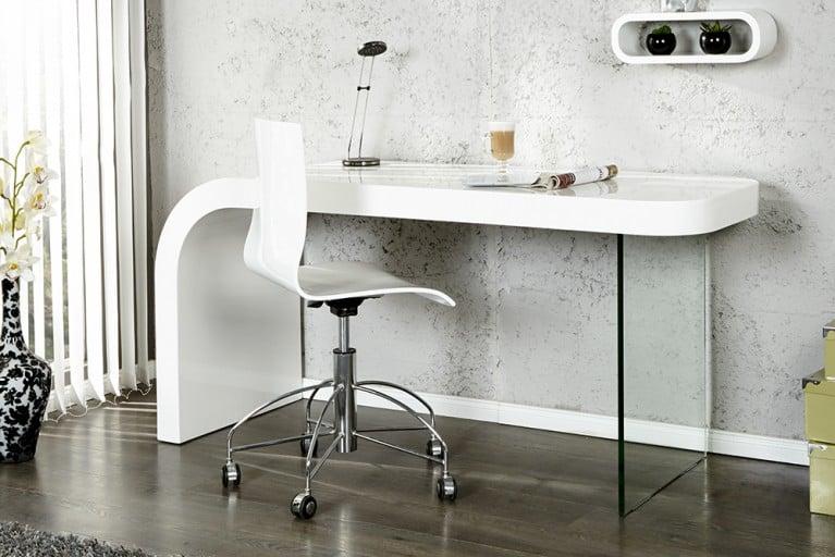Innovativer Schreibtisch ONYX hochglanz weiß Bürotisch