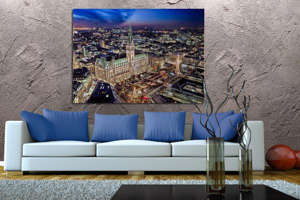 Stimmungsvoller XL Kunstdruck HAMBURGER RATHAUS Leinwand 100x140cm