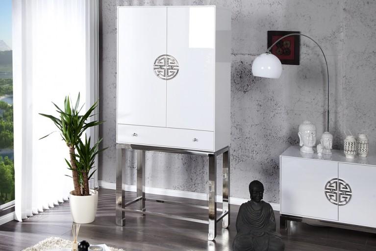 Hochzeitschrank ASIA DELUXE weiss Hochglanz 178cm hoch mit silbernen Elementen
