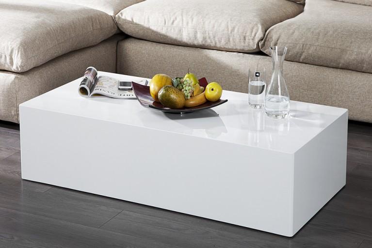 Design Couchtisch MONOBLOC XL 120cm hochglanz weiss